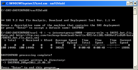 Run sas92hfadd.exe from DOS Prompt
